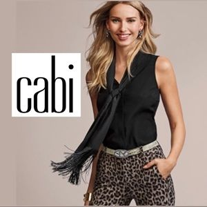 CAbi Black Fringe Sleeveless Blouse